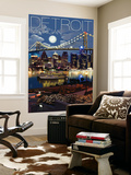 Detroit  Michigan - Skyline at Night