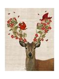 Deer and Love Birds Reproduction d'art par Fab Funky