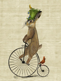 March Hare on Penny Farthing Reproduction d'art par Fab Funky