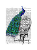 Peacock on Chair Reproduction d'art par Fab Funky
