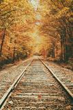 Autumn Railroad, New Engalnd Fall Foilage Tableau sur toile par Vincent James