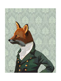 Dandy Fox Portrait Reproduction d'art par Fab Funky