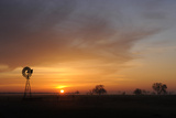 Landscape of a Windmill at Sunset