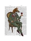 Wine Taster Fox Full Reproduction d'art par Fab Funky