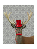 Deer with Red Hat and Moustache