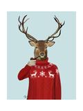 Deer in Ski Sweater Reproduction d'art par Fab Funky