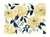 Fleurs D'or et Bleu II Reproduction d'art par Grace Popp
