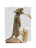 Meerkat Cowboy Reproduction d'art par Fab Funky