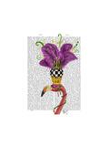 Mardi Gras Flamingo Portrait Reproduction d'art par Fab Funky