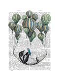 Penguin in Hammock Balloon Reproduction d'art par Fab Funky