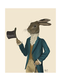 Hare in Turquoise Coat Reproduction d'art par Fab Funky