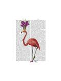 Mardi Gras Flamingo Full Reproduction d'art par Fab Funky