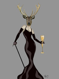 Glamour Deer in Black Reproduction d'art par Fab Funky