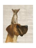 Danois et Chihuahua Reproduction d'art par Fab Funky