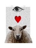 I Heart Ewe Reproduction d'art par Fab Funky