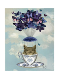 Owl in Teacup Reproduction d'art par Fab Funky