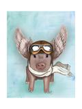 Aviator Piggy Reproduction d'art par Fab Funky