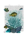 Fish Blue Shells and Corals Reproduction d'art par Fab Funky