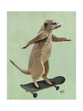 Meerkat on Skateboard Reproduction d'art par Fab Funky