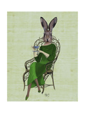 Lady Bella Rabbit Taking Tea Reproduction d'art par Fab Funky