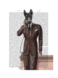 Doberman on Phone