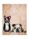 French Bulldog and English Bulldog Reproduction d'art par Fab Funky