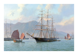 Overhauling Sails before the Heat of the Sun Sea Witch Hong Kong 1849