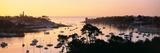 Sunrise over a Town at River Odet Estuary  Benodet  Finistere  Brittany  France