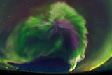 The Northrn Lights Panoramic Projection of a Colorful Strong Aurora Outburst