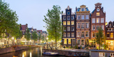 Houses Along Canal at Dusk at Intersection of Herengracht and Brouwersgracht  Amsterdam