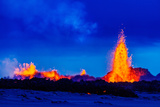Lava Fountains at the Holuhraun Fissure Eruption Near Bardarbunga Volcano  Iceland