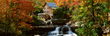 Panoramic of Glade Creek Grist Mil and Autumn Reflections and Waterfall in Babcock State Park  Wv
