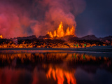 Glowing Lava from the Eruption at the Holuhraun Fissure  Near the Bardarbunga Volcano  Iceland