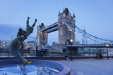 View of Fountain with Tower Bridge in the Background  Thames River  London  England