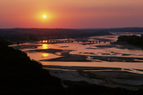 The Sun Sets over the Braided Streams That Form the Platte River