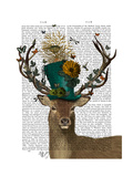 Mad Hatter Deer Reproduction d'art par Fab Funky