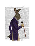Hare in Purple Coat Reproduction d'art par Fab Funky