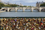 Padlocks Symbolizing Couples in Love on the Pont De L'Archeveche Bridge  on the Seine River