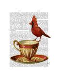 Teacup and Red Cardinal Reproduction d'art par Fab Funky