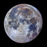 Telescopic Close Up View of the Moon with Enhanced Colors