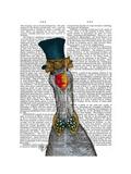 Goose in Blue Hat Reproduction d'art par Fab Funky
