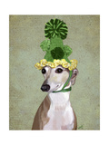Greyhound in Green Knitted Hat Reproduction d'art par Fab Funky