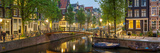 Houses Along Canal at Dusk at Intersection of Herengracht and Brouwersgracht Papier Photo