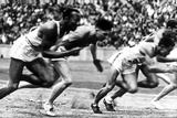"""James Cleveland """"Jesse"""" Owens  American Athlete at Departure of 100M Race at Olympic Games in 1936"""