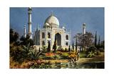 The Taj Mahal in Agra (India) Marble Mausoleum Built in 1632 - 1644