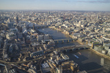 Elevated View of the River Thames and London Skyline Looking West  London  England  UK