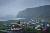 View over the Village of Vik on a Rainy Day  Iceland  Polar Regions