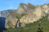 Cathedral Rocks East and Bridalveil Fall from Tunnel View in Yosemite National Park