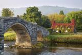 Tu Hwnt I'R Bont Tearoom and Pont Fawr (Big Bridge) in Autumn  Llanrwst  Snowdonia  Conwy  Wales