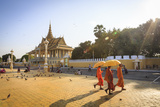 Buddhist Monks at a Square in Front of the Royal Palace  Phnom Penh  Cambodia  Indochina